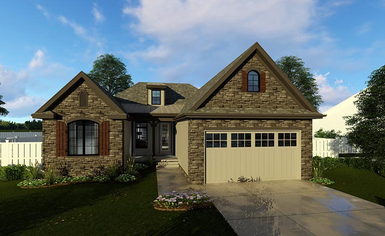 Cottage, European, Traditional House Plan 44184 with 3 Beds, 2 Baths, 2 Car Garage Front Elevation