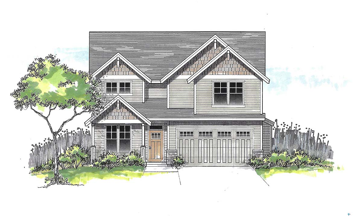 Craftsman, Traditional House Plan 44401 with 5 Beds, 3 Baths, 2 Car Garage Elevation