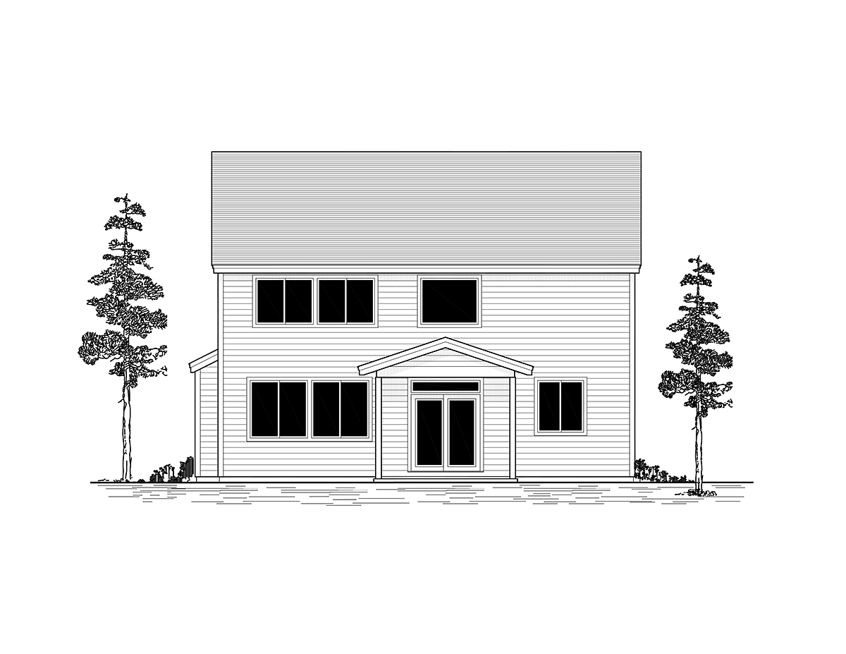 Craftsman, Traditional House Plan 44402 with 4 Beds, 3 Baths, 2 Car Garage Rear Elevation