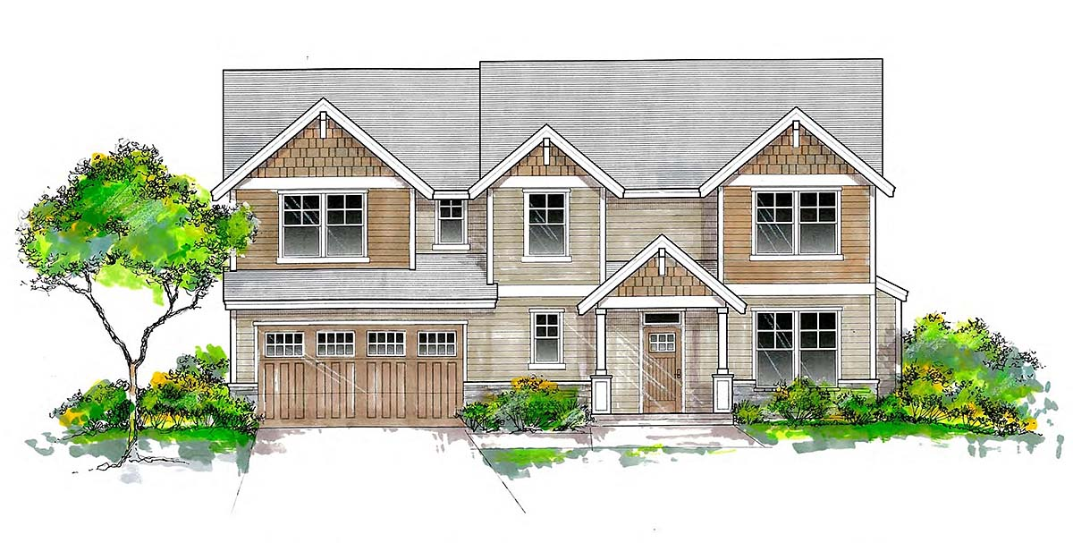 Craftsman, Traditional House Plan 44405 with 6 Beds, 3 Baths, 2 Car Garage Elevation