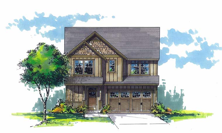 Traditional House Plan 44503 with 4 Beds, 3 Baths, 2 Car Garage Elevation