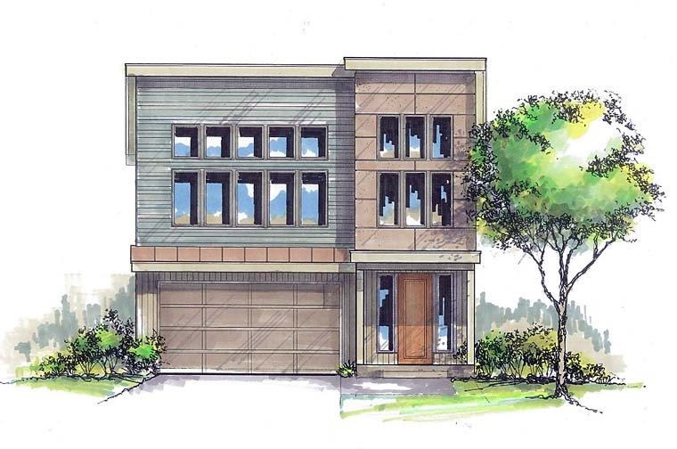 Contemporary, Modern House Plan 44506 with 3 Beds, 3 Baths, 2 Car Garage Elevation