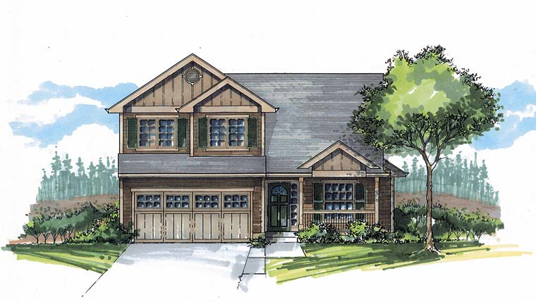 Traditional House Plan 44514 with 3 Beds, 3 Baths, 2 Car Garage Front Elevation