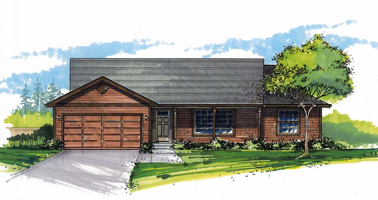 Ranch, Traditional House Plan 44516 with 3 Beds, 2 Baths, 2 Car Garage Front Elevation