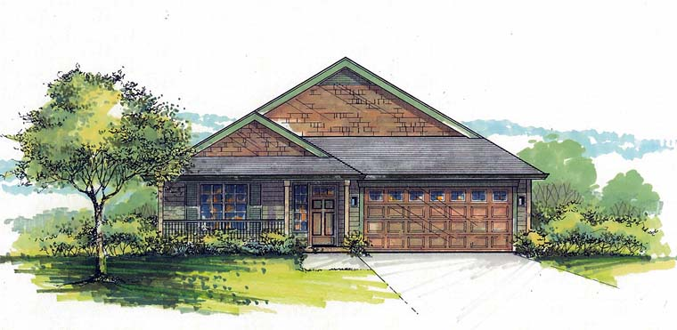 Country, Southern, Traditional House Plan 44518 with 3 Beds, 2 Baths, 2 Car Garage Elevation