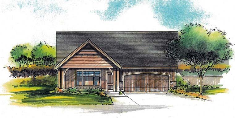 Country, Ranch House Plan 44519 with 3 Beds, 2 Baths, 2 Car Garage Elevation
