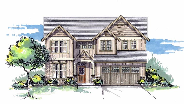 Cottage, Country, Craftsman House Plan 44601 with 4 Beds, 3 Baths, 2 Car Garage Elevation