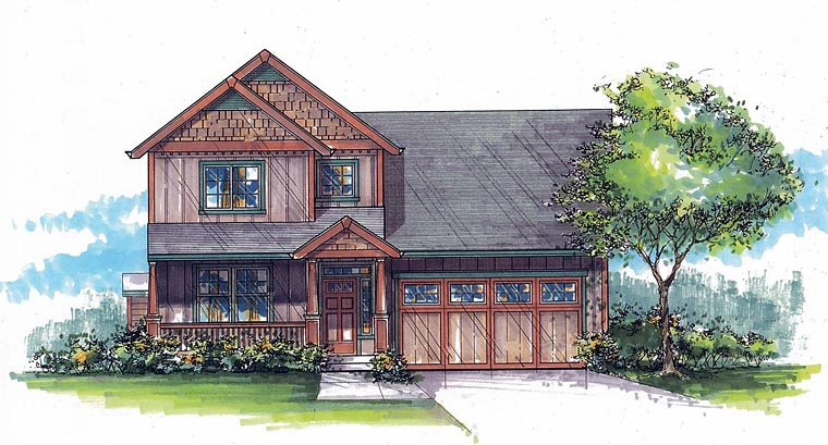 Country, Craftsman House Plan 44621 with 4 Beds, 3 Baths, 2 Car Garage Elevation