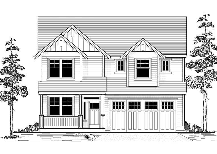 Country, Traditional House Plan 44651 with 4 Beds, 3 Baths, 2 Car Garage Front Elevation