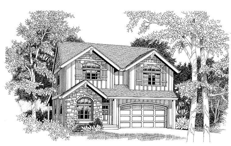 Country, Craftsman, European House Plan 44653 with 4 Beds, 3 Baths, 2 Car Garage Elevation