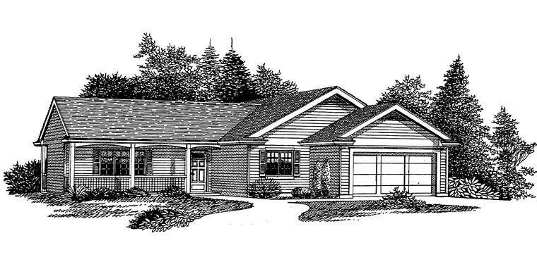 Ranch, Traditional House Plan 44659 with 3 Beds, 2 Baths Elevation