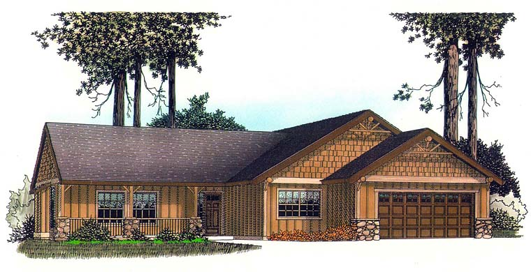 Country, Craftsman, Ranch House Plan 44699 with 3 Beds, 2 Baths, 2 Car Garage Front Elevation