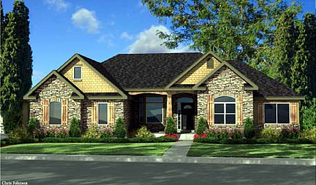 Craftsman, European House Plan 44813 with 3 Beds, 3 Baths, 3 Car Garage Elevation