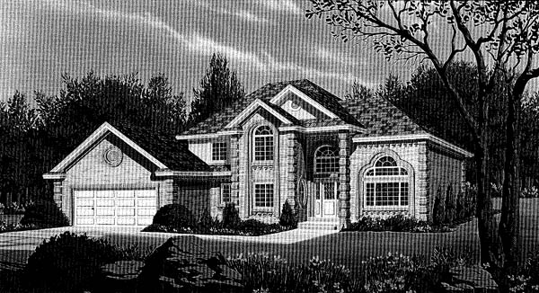 European House Plan 44816 with 4 Beds, 3 Baths, 2 Car Garage Elevation
