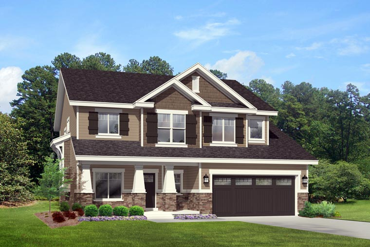 Country, Craftsman, Southern, Traditional House Plan 44818 with 4 Beds, 3 Baths, 3 Car Garage Elevation