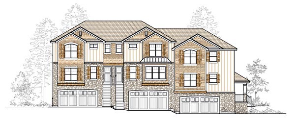 Craftsman Multi-Family Plan 44820 with 2 Beds, 2 Baths, 2 Car Garage Front Elevation