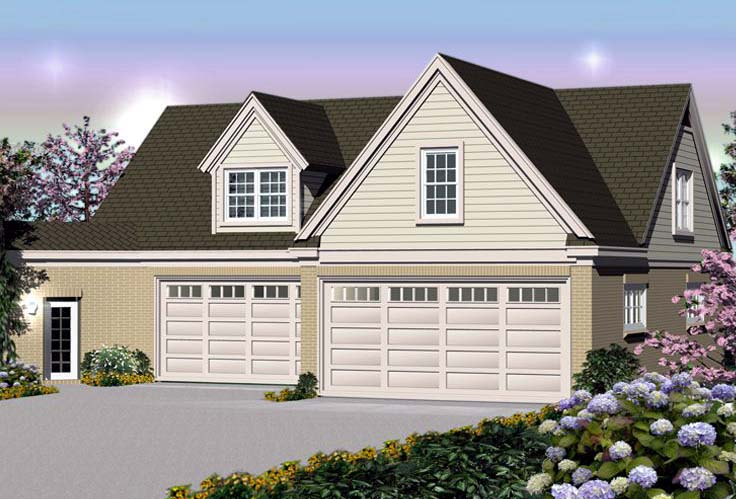 Traditional 6 Car Garage Apartment Plan 44914 with 1 Beds, 2 Baths Elevation