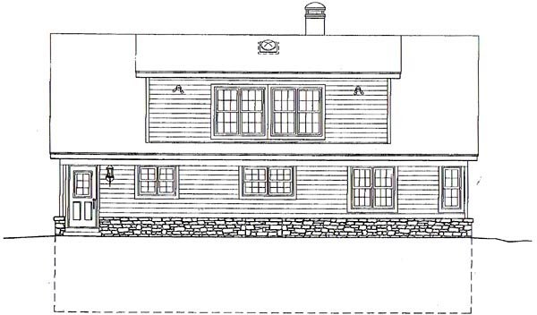 Country House Plan 44919 with 3 Beds, 3 Baths, 2 Car Garage Rear Elevation