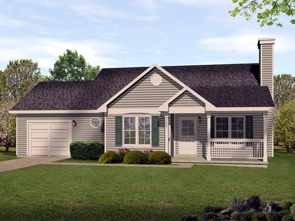 Ranch, Traditional House Plan 45105 with 2 Beds, 2 Baths, 1 Car Garage Front Elevation