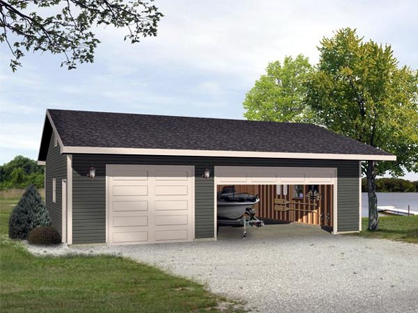 3 Car Garage Plan 45115 Elevation