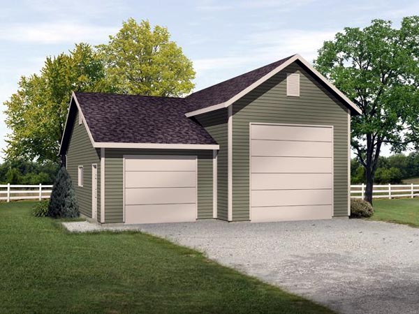2 Car Garage Plan 45118, RV Storage Front Elevation