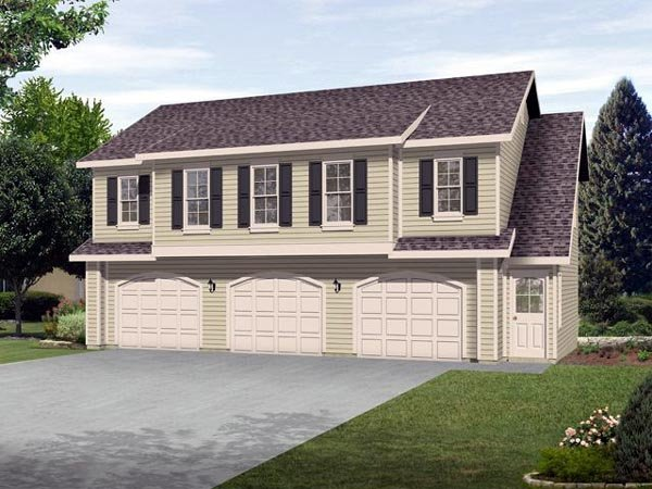 3 Car Garage Apartment Plan 45120 with 2 Beds, 1 Baths Elevation