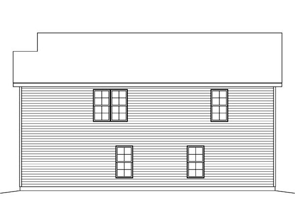 3 Car Garage Apartment Plan 45120 with 2 Beds, 1 Baths Rear Elevation