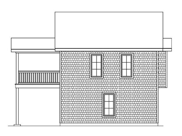 2 Car Garage Apartment Plan 45121 with 2 Beds, 1 Baths Rear Elevation