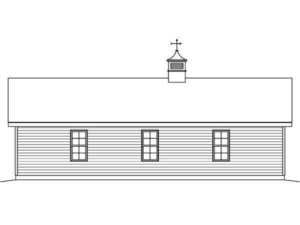 3 Car Garage Plan 45127 Rear Elevation