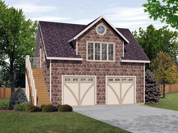2 Car Garage Apartment Plan 45128 with 1 Beds, 1 Baths Elevation