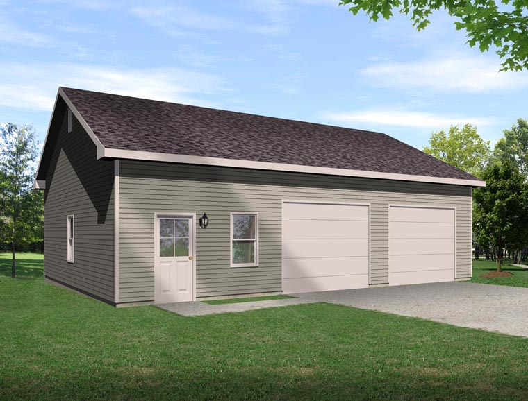 2 Car Garage Plan 45129 Front Elevation