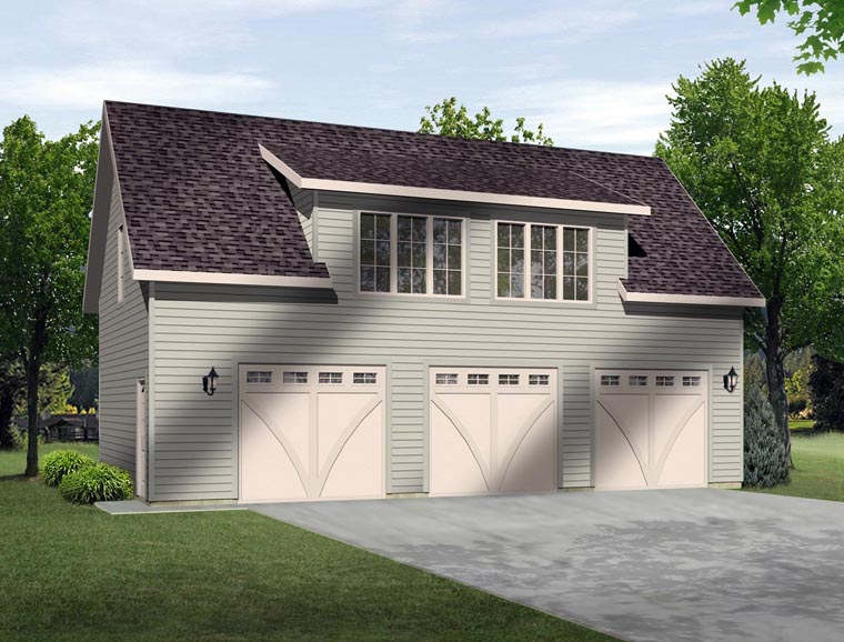 3 Car Garage Plan 45131 Elevation