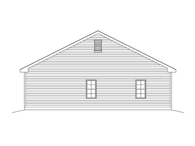2 Car Garage Plan 45136 Rear Elevation