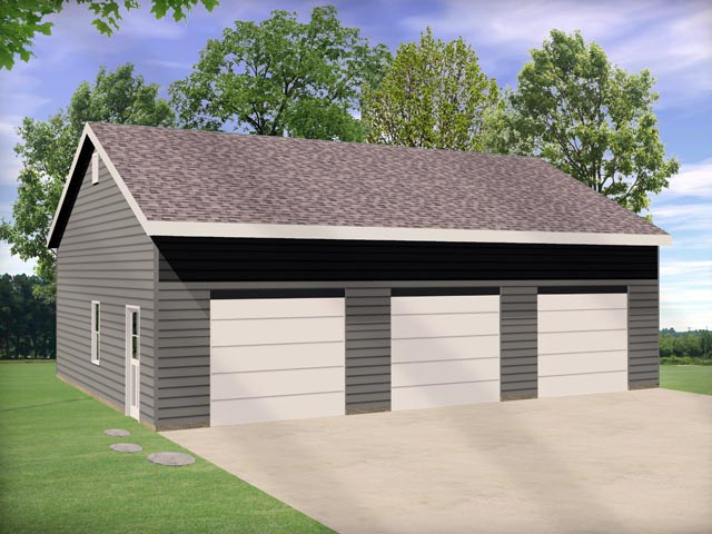 3 Car Garage Plan 45146 Elevation