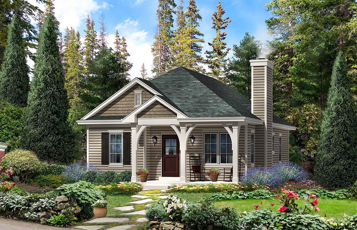 Cabin, Country, Traditional House Plan 45154 with 2 Beds, 2 Baths Front Elevation