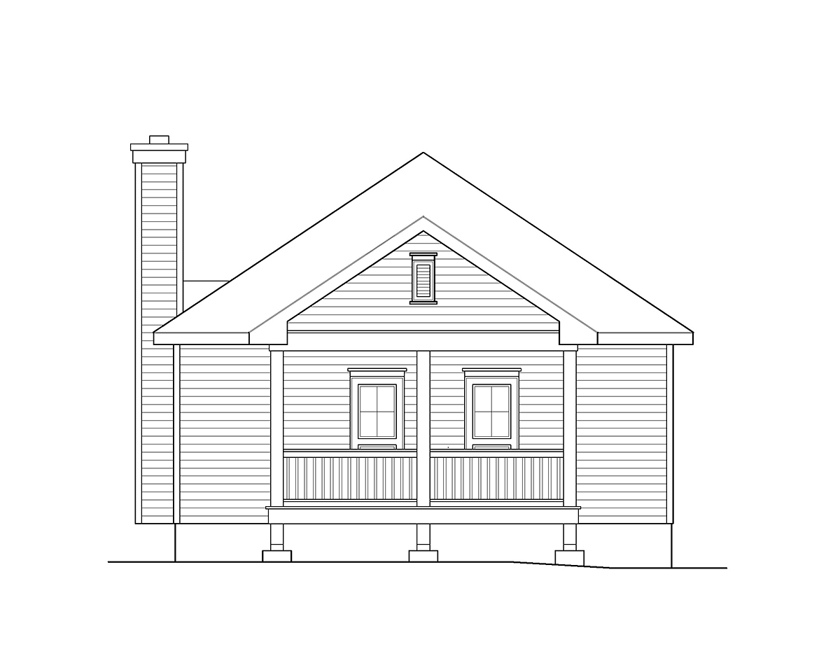 Cabin, Country, Traditional House Plan 45154 with 2 Beds, 2 Baths Rear Elevation