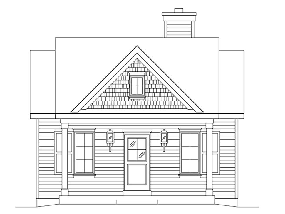 Bungalow, Cottage House Plan 45163 with 1 Beds, 1 Baths Picture 3