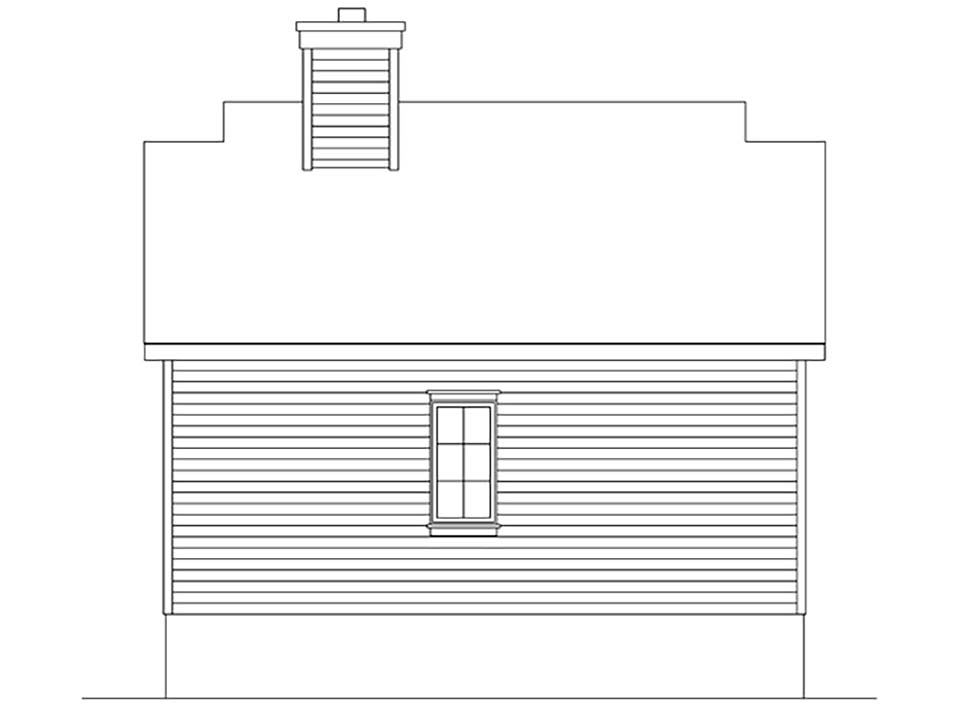 Bungalow, Cottage House Plan 45163 with 1 Beds, 1 Baths Rear Elevation