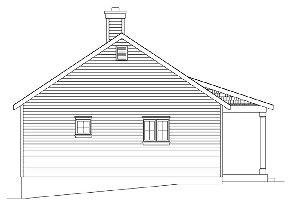 Cottage, Narrow Lot House Plan 45164 with 1 Beds, 1 Baths Picture 2