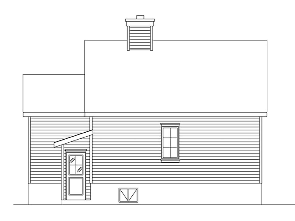 Cottage, Narrow Lot House Plan 45164 with 1 Beds, 1 Baths Rear Elevation