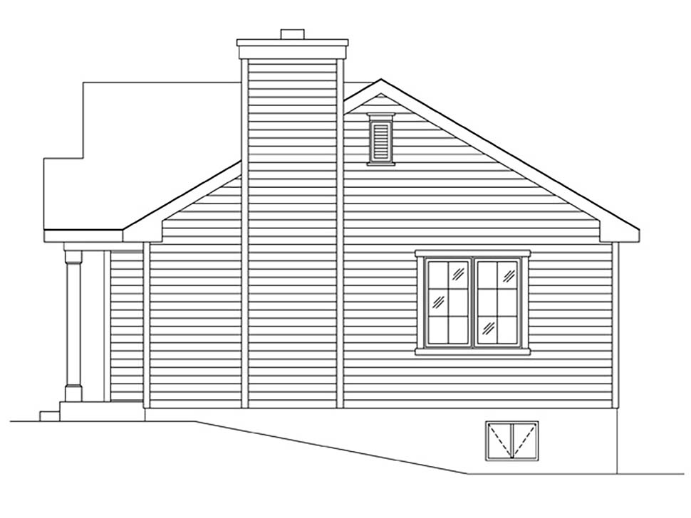 Bungalow, Cabin, Cottage, Narrow Lot, One-Story House Plan 45167 with 1 Beds, 1 Baths Picture 1