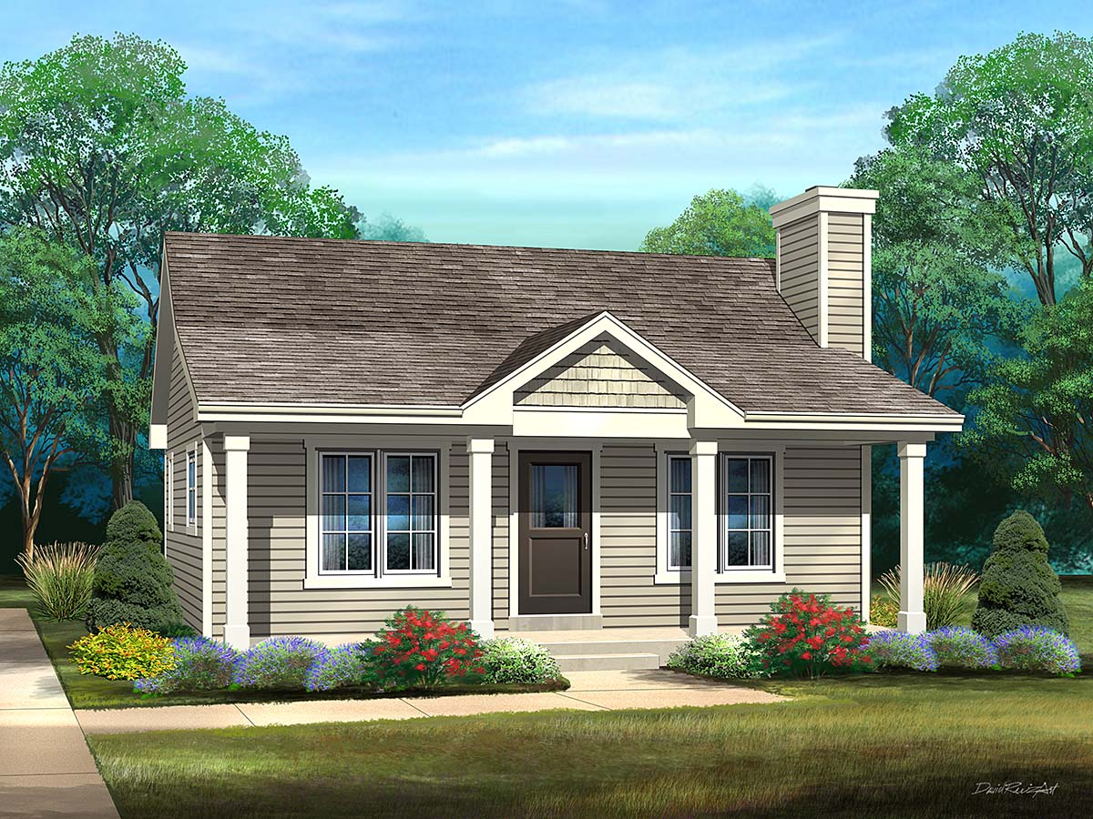 Cabin, Cottage, Country, Narrow Lot, One-Story House Plan 45168 with 1 Beds, 1 Baths Elevation