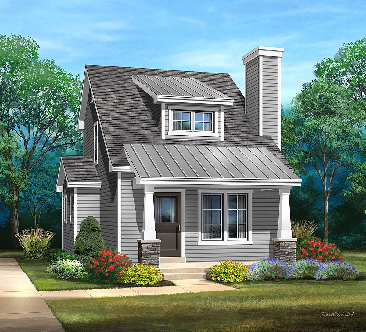 Craftsman, Narrow Lot House Plan 45170 with 1 Beds, 2 Baths Elevation