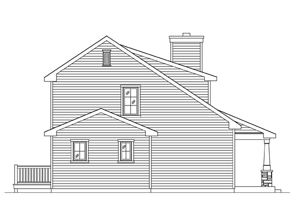 Craftsman, Narrow Lot House Plan 45170 with 1 Beds, 2 Baths Picture 2