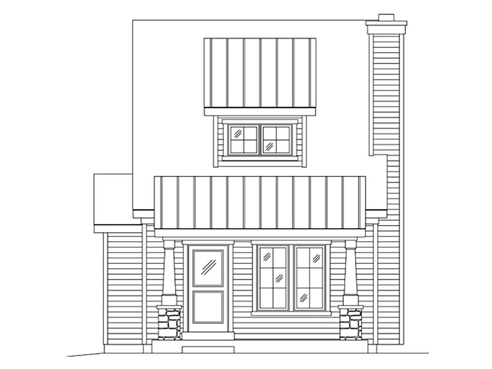 Craftsman, Narrow Lot House Plan 45170 with 1 Beds, 2 Baths Picture 3