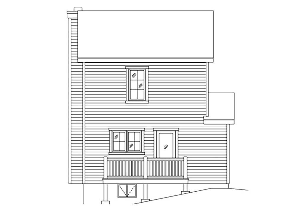 Craftsman, Narrow Lot House Plan 45170 with 1 Beds, 2 Baths Rear Elevation