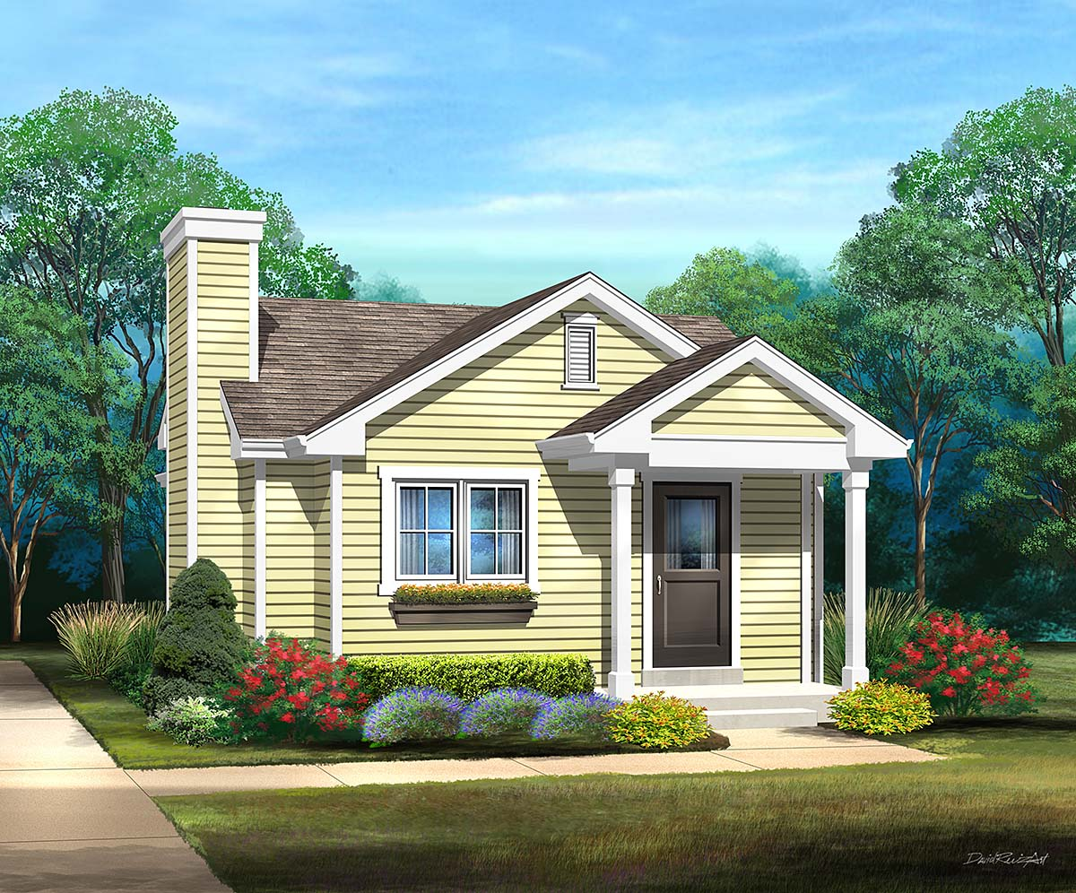 Bungalow, Cottage, Narrow Lot, One-Story House Plan 45172 with 1 Beds, 1 Baths Elevation