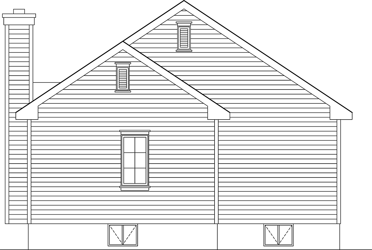 Bungalow, Cottage, Narrow Lot, One-Story House Plan 45177 with 3 Beds, 2 Baths Rear Elevation