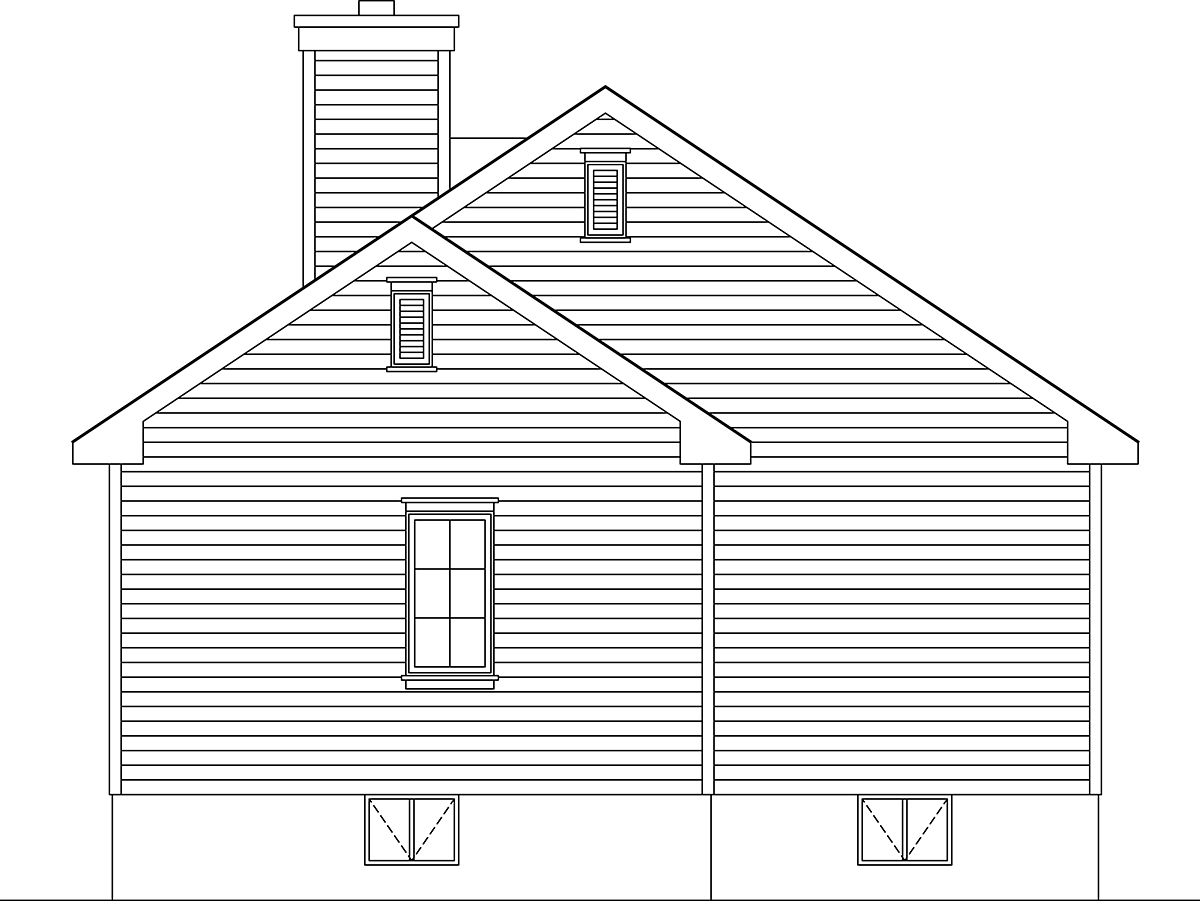 Bungalow, Cottage, Narrow Lot, One-Story House Plan 45179 with 3 Beds, 2 Baths Rear Elevation