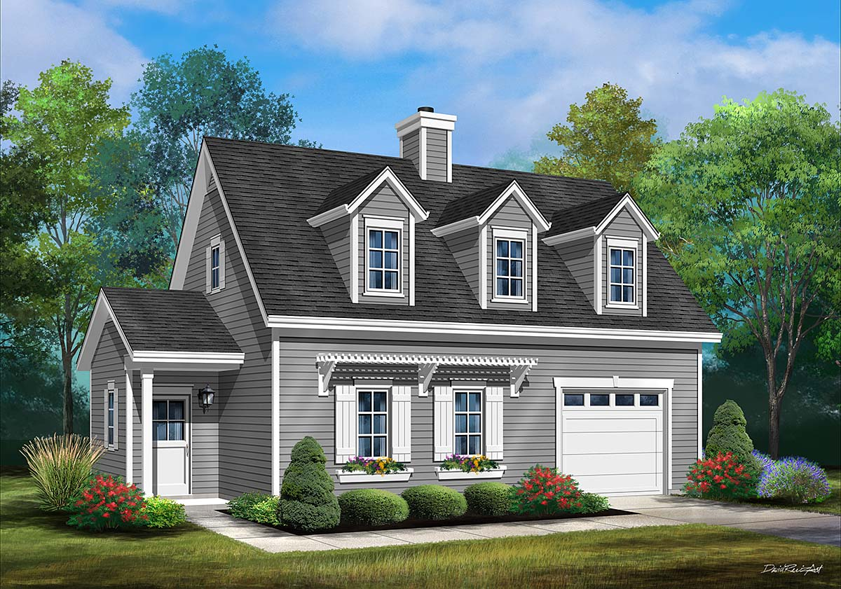 Cape Cod, Cottage, Traditional House Plan 45180 with 1 Beds, 2 Baths, 1 Car Garage Elevation
